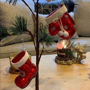Santa Claus boot & mitten Christmas tree ornaments